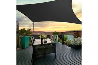 Instahut Sun Shade Sail Sails 3x4m Rectangle 280GSM Shade Cloth Shadecloth Canopy Black Summer UV Protection