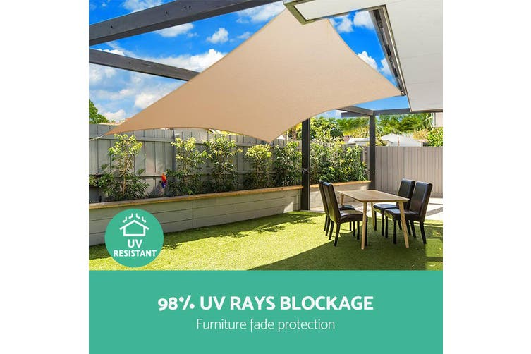Instahut Sun Shade Sail Sails 3x4m Rectangle 280GSM Shade Cloth Shadecloth Canopy Sand Beige Summer UV Protection