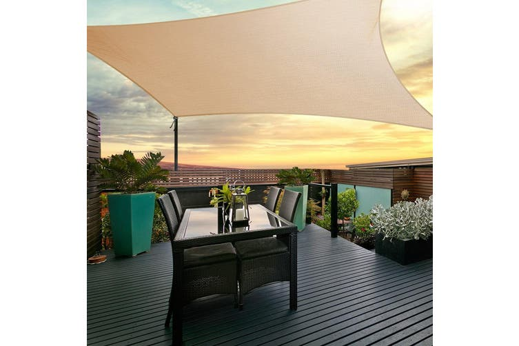 Instahut Sun Shade Sail Sails 3x6m Rectangle 280GSM Shade Cloth Shadecloth Canopy Sand Beige Summer UV Protection