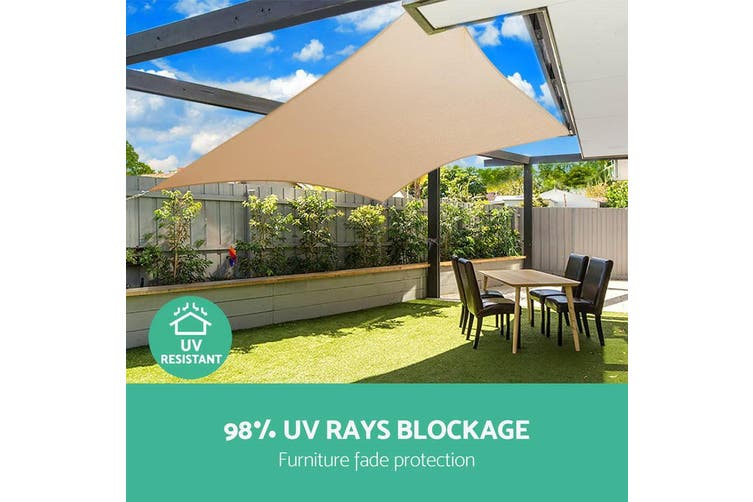 Instahut Sun Shade Sail Sails 5x5m Square 280GSM Shade Cloth Shadecloth Canopy Sand Beige Summer UV Protection