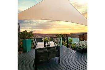Instahut Sun Shade Sail Sails 5x5x5m Triangle 280GSM Shade Cloth Shadecloth Canopy Sand Beige Summer UV Protection