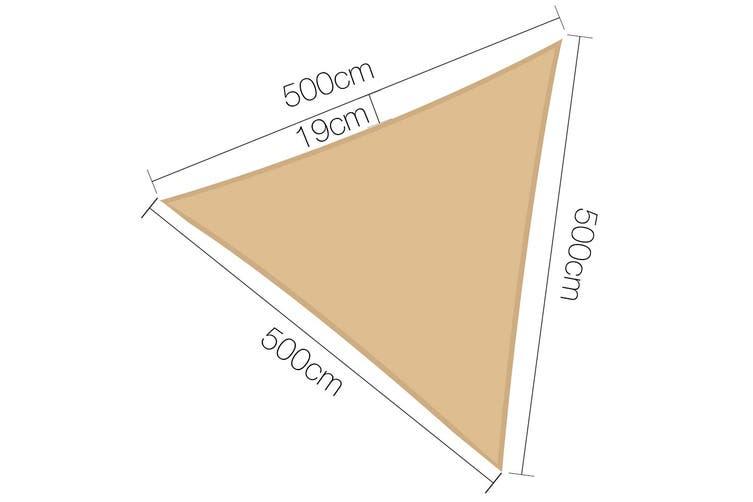 Instahut Sun Shade Sail Sails Waterproof 5x5x5m Triangle Shade Cloth Shadecloth Awning Heavy Duty Canopy Sand Beige Summer UV Protection