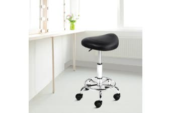 Artiss Saddle Salon Stool Chair PU Leather Stools Black Gas Lift Swivel Barber Hairdressing Height Adjustable