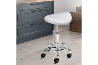 Artiss Saddle Salon Stool Chair PU Leather Stools White Gas Lift Swivel Barber Hairdressing Height Adjustable