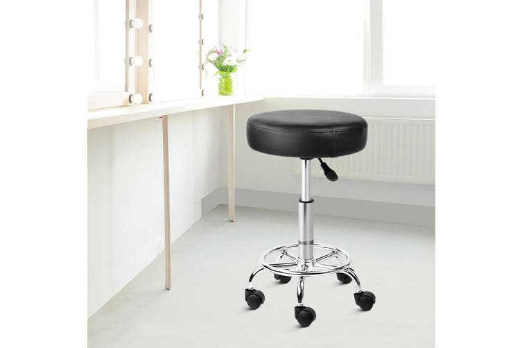 Artiss Round Salon Stool Chair PU Leather Stools Black Gas Lift Swivel Barber Hairdressing Height Adjustable