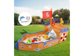 Keezi Kids Boat Sandpit Wooden Outdoor Play Sand Pit Toys Box Children Large