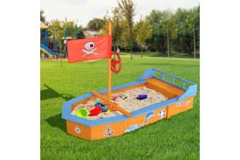 Keezi Kids Boat Sandpit Toys Box Wooden Outdoor Play Sand Pit Children Large