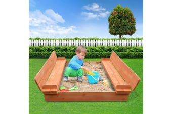 Sandpit Toy Box Kids Large Square Sand Pit Wooden Outdoor Play