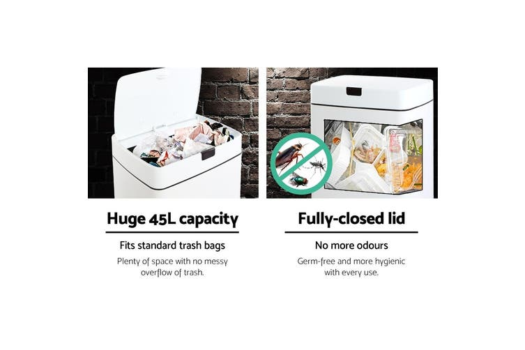 Devanti 45L Motion Sensor Rubbish Bin White Automatic Trash Waste Can Kitchen Touch Free Home Office