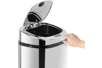 50L Motion Sensor Rubbish Bin Stainless Steel Silver Automatic Trash Waste Can Kitchen Touch Free Home Office