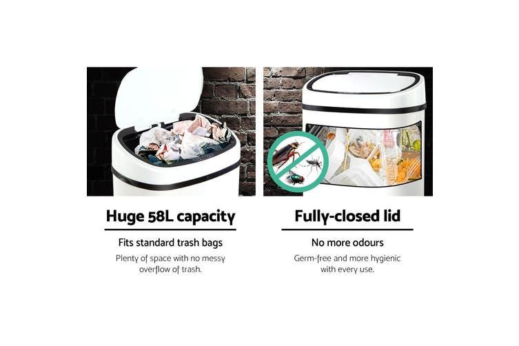 Devanti 58L Motion Sensor Rubbish Bin White Automatic Trash Waste Can Kitchen Touch Free Home Office