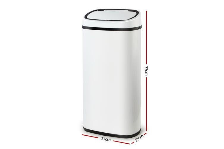 Devanti 68L Motion Sensor Rubbish Bin White Automatic Trash Waste Can Kitchen Touch Free Home Office