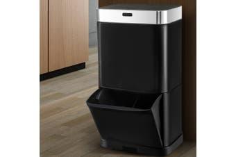 Devanti 70L Motion Sensor Rubbish Bin Black Automatic Auto Trash Waste Can Kitchen Touch Free Home Office