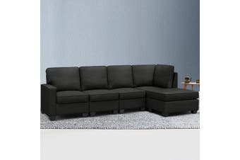 Artiss Sectional Sofa Set Corner Lounge 5 Seater Modular Couch Sleeper Chaise Chair Suite Fabric Dark Grey