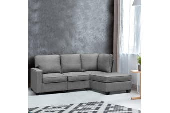 Artiss Sectional Sofa Set Corner Lounge 4 Seater Modular Couch Sleeper Chaise Chair Suite Fabric Grey