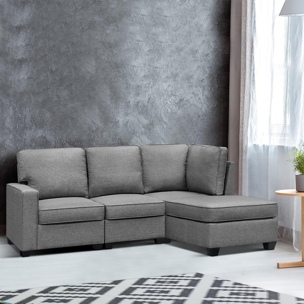 Artiss Sectional Sofa Set Corner Lounge 4 Seater Modular Couch Sleeper Chaise Chair Suite Fabric Grey Matt Blatt
