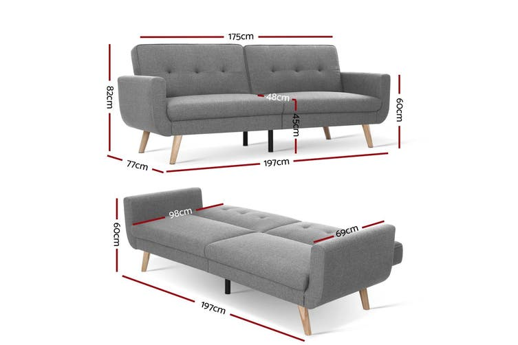 Artiss Sofa Bed Lounge Set 3 Seater Couch Fabric Recliner Sleeper 197cm Extra Supporting Legs Light Grey