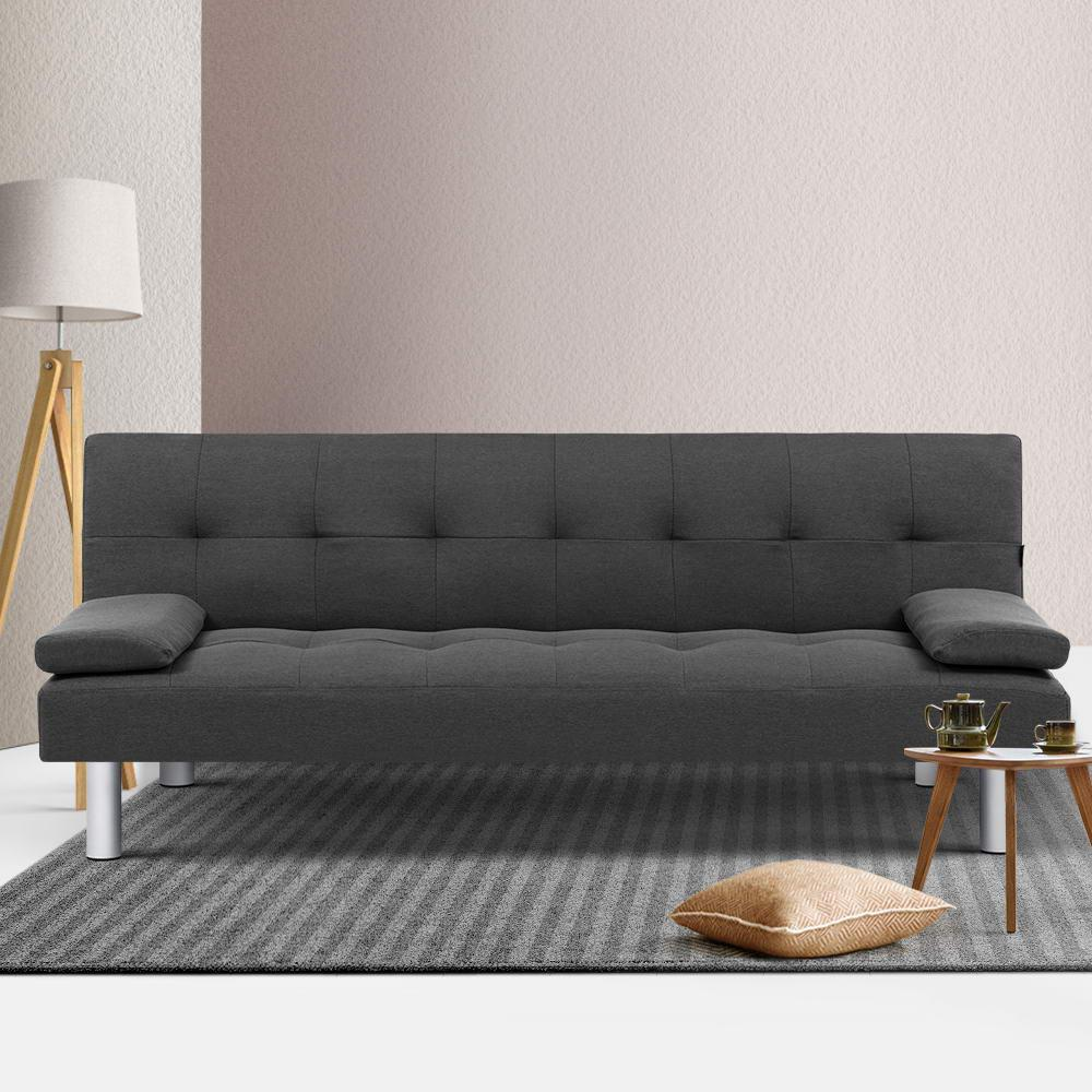Artiss Sofa Bed Lounge Set 3 Seater Couch Futon Fabric Recline Chair Dark Grey Matt Blatt