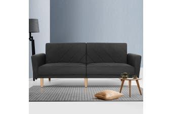 Artiss Sofa Bed Lounge 3 Seater Futon Couch Wood Furniture Dark Grey Fabric 193cm
