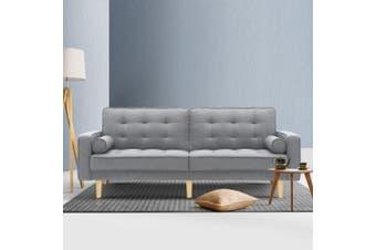 Artiss Sofa Bed Lounge Set 3 Seater Couch Fabric Sleeper Recliner 195cm Legs Wood Frame Light Grey