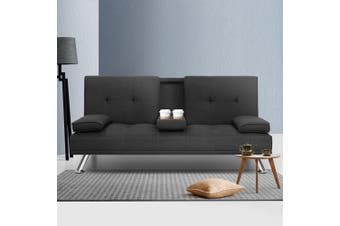 Artiss Sofa Bed Lounge Set 3 Seater Couch With Cup Holder Fabric Recliner 175cm Legs Wood Frame Dark Grey