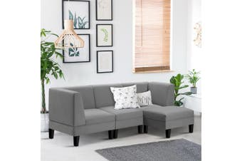 Artiss Sectional Sofa Set Corner Lounge 4 Seater Modular Couch Chaise Chair Suite Fabric Light Grey