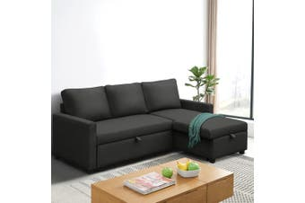 Artiss Sofa Bed Lounge Set With Storage Space Corner Sofa 3 Seater Futon Couch Chaise Fabric Dark Grey Charcoal