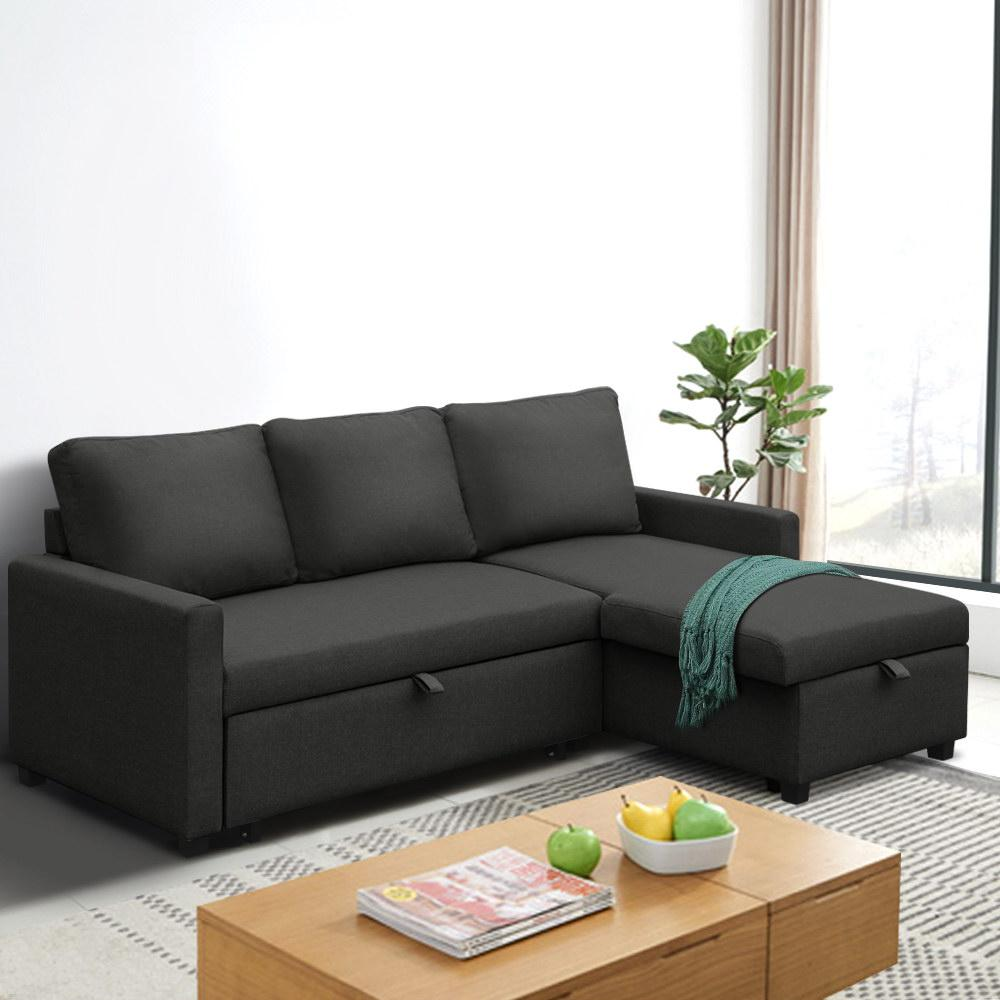 Artiss Sofa Bed Lounge Set With Storage Space Corner Sofa 3 Seater Futon Couch Chaise Fabric Dark Grey Charcoal Kogan Com