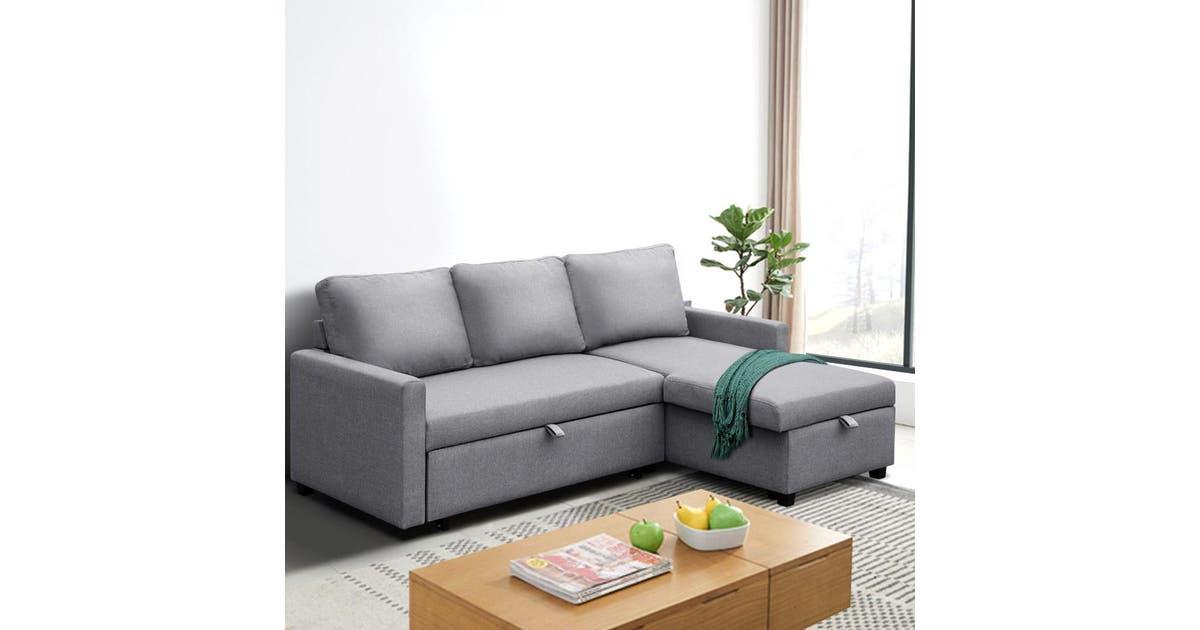 Artiss Sofa Bed Lounge Set With Storage Space Corner Sofa 3 Seater Futon Couch Chaise Fabric Light Grey Matt Blatt