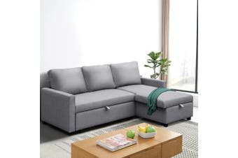Artiss Sofa Bed Lounge Set With Storage Space Corner Sofa 3 Seater Futon Couch Chaise Fabric Light Grey