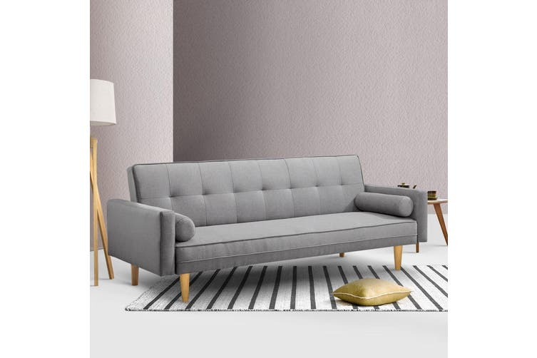 Artiss Sofa Bed Lounge Set 3 Seater Couch Fabric Recliner 188cm Legs Wood Frame Light Grey 3 Level Recliner