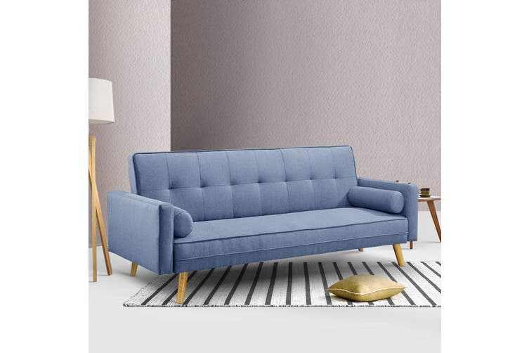 Artiss Sofa Bed Lounge Set 3 Seater Couch Fabric Recliner 188cm Legs Wood Frame 3 Level Recliner Blue