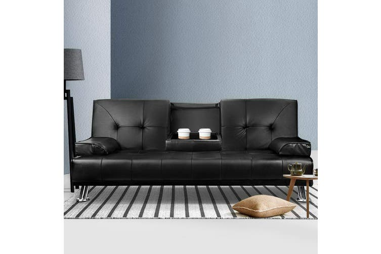 Artiss Sofa Bed Lounge Set 3 Seater PU Leather Couch With Cup Holder Recliner 188cm Black