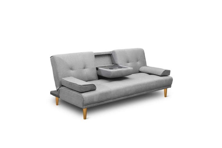 Artiss Sofa Bed Lounge Set 3 Seater Fabric Couch With Cup Holders Fabric Recliner 188cm Dark Grey
