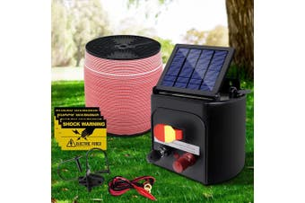 Giantz 5KM Solar Electric Fence Energiser Energizer 0.15J + 2000M Electrical Fencing Wire Tape Farm