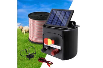 Giantz 5km Solar Electric Fence Wire Energiser Energizer Battery Charger Cattle Horse