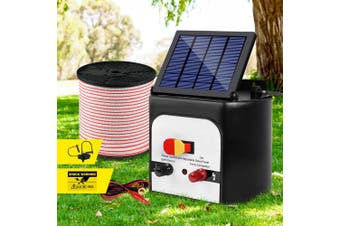 Giantz 8km Solar Electric Fence Wire Energiser Energizer Battery Charger Cattle Horse