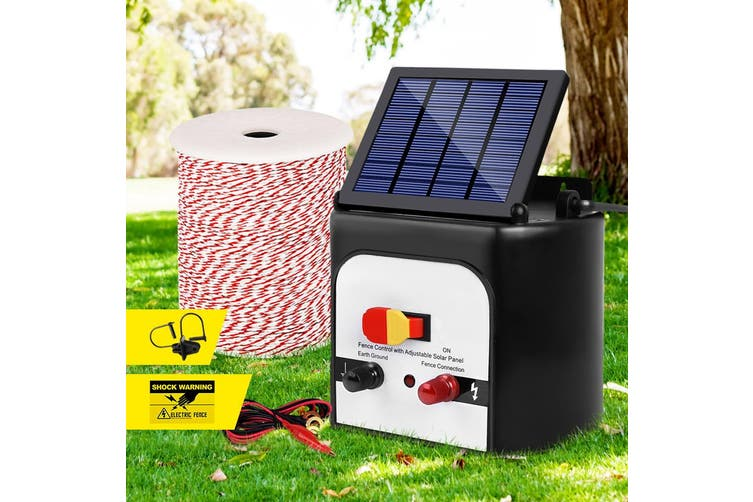 Giantz 8km Solar Powered Electric Fence Wire Energiser Battery Energizer Charger Tape