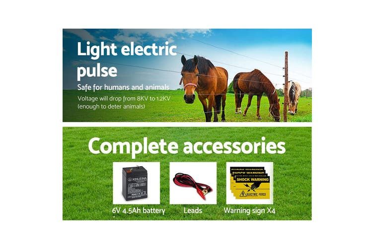 Giantz 5km Solar Electric Fence Energiser Wire Energizer Charger 0.15J Farm Animal