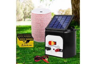 Giantz 8KM Solar Electric Fence Energiser Energizer 0.3J + 2000M Poly Fencing Wire Tape