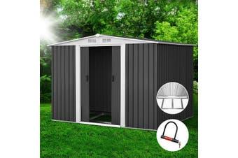 Giantz  Garden Shed 2.57x2.05M Outdoor Storage Sheds Double Door Metal Base