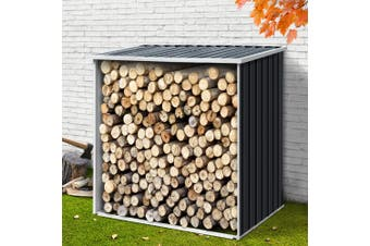 Giantz Log Storage Shed Galvanised Steel Outdoor Garden Firewood 2m Shelter