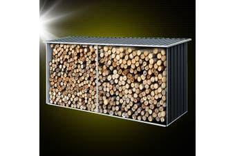 Giantz Log Storage Shed Galvanised Steel Outdoor Garden Firewood 3.5m Shelter