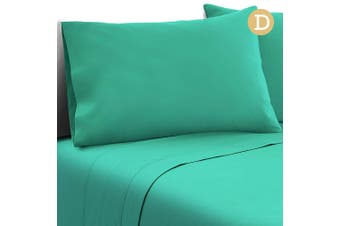 Giselle Bedding 1000TC DOUBLE Microfiber Bed Sheet Fitted Flat Pillowcases Aqua