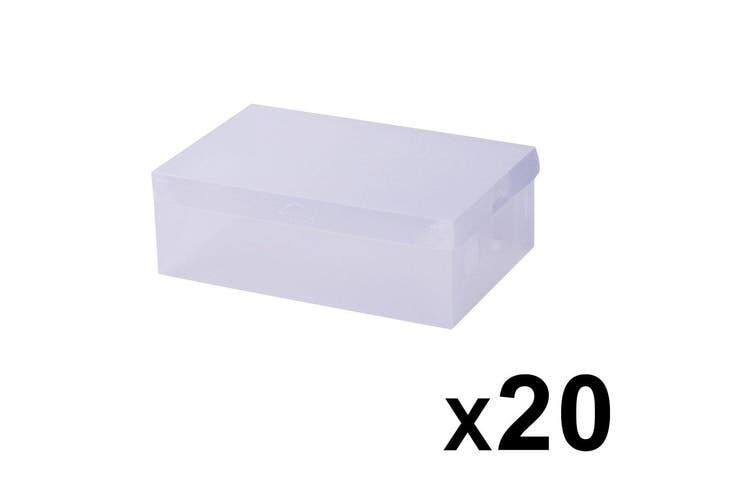 20X Transparent Clear Shoe Storage Box Foldable Portable Stackable Case Wardrobe