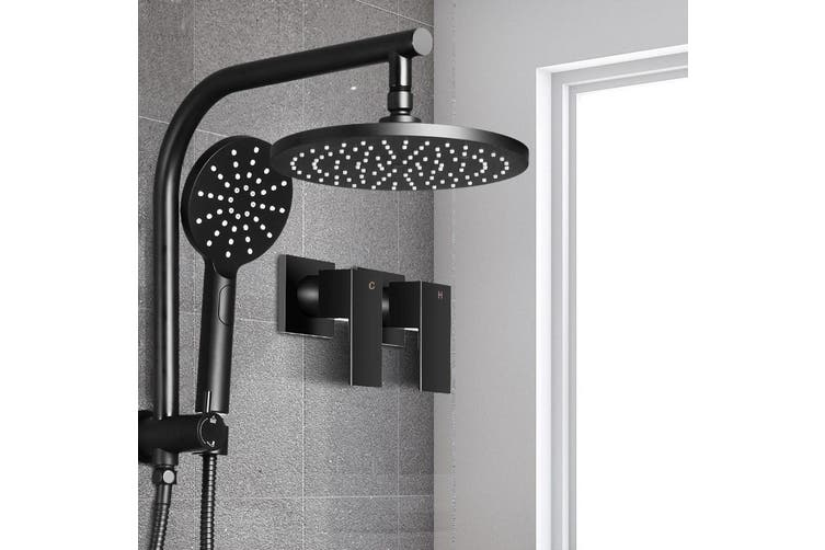 Cefito WELS 9'' Rain Shower Head Taps Round Handheld High Pressure Wall Black