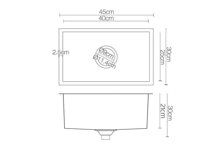 Cefito Kitchen Sink Stainless Steel Laundry Handmade Top Undermount 450x300mm