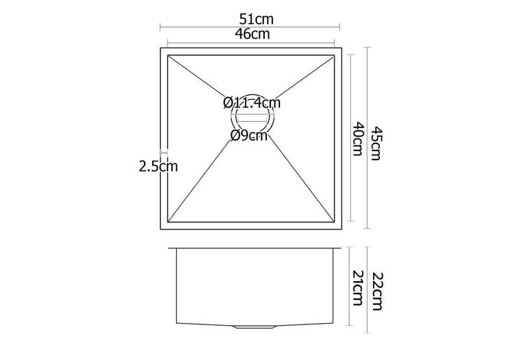 Cefito Kitchen Sink 304 Stainless Steel Under/Topmount Laundry Bowl 510x450mm