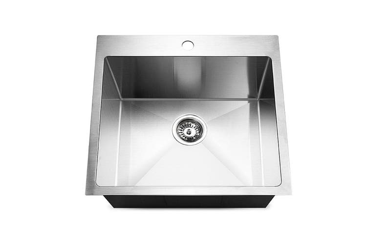 Cefito Kitchen Sink Stainless Steel Handmade Single Bowl Laundry 530x500mm