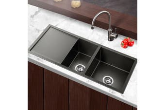 Cefito Kitchen Sink Nano Stainless Steel Double Bowl Handmade Laundry 1000x450mm